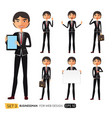 set of asian businessman character design vector image