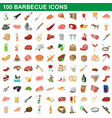 100 barbecue icons set cartoon style vector image vector image