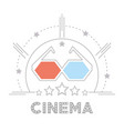 3d glasses to cinema short film vector image vector image