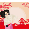 abstract landscape with Asian girl vector image