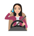 asian woman driving a car talking on the phone vector image