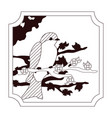beautiful bird drawing with flowers vector image