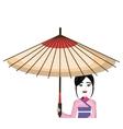 beautiful geisha japan character with umbrella vector image