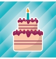 big cake birthday with candle blue light vector image