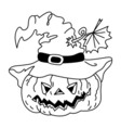 Black and White Halloween Pumpkin vector image