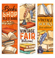 bookshop sketch banner of old and rare book vector image vector image