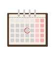 calendar and one day marked on it flat vector image