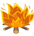 campfire fire wood bonfire icon on white vector image