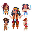 cartoon character girl pirates isolated on white vector image vector image
