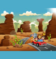 cartoon kids driving a red car with wild animals t vector image vector image