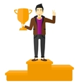 Cheerful man on pedestal vector image vector image