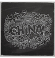 China hand lettering and doodles elements chalk vector image vector image