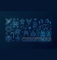christmas blue horizontal banner in line vector image vector image