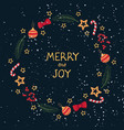 christmas wreath template and lettering merry ang vector image vector image