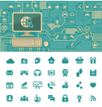 Circuit Board with a Computer and Web Icons vector image vector image