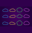 cloud icons line neon speech bubbles forms for vector image vector image