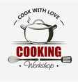 cooking symbol emblem set saucepan cook and food vector image