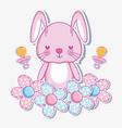 cute bunny cartoon card vector image vector image