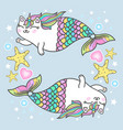 cute cat unicorn mermaid clipart vector image