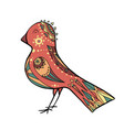 cute coloring cartoon bird with boho pattern vector image vector image