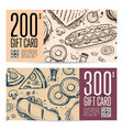 Fast food restaurant gift card set in retro style
