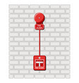 fire alarm and alarm button on a brick wall vector image vector image