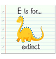 Flashcard letter E is for extinct vector image vector image