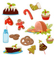 flat set of christmas food and drinks vector image