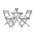 garden furniture table and two chairs vector image vector image