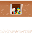 Girls On Window With Winter Equipment Outline Icon vector image