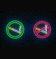 glowing neon set of no smoking and smoking here vector image