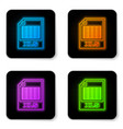 glowing neon xls file document icon download xls vector image vector image