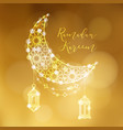 Golden ornamental moon with arab lanterns and