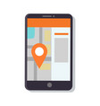 gps navigation map in phone vector image vector image