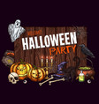 halloween horror party sketch banner design vector image