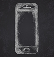 Handdrawn sketch of mobile phone front on vector image vector image