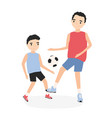 happy father and son playing football dad and kid vector image