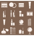 Icons cosmetics in a light beige silhouette vector image vector image