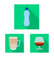isolated object of drink and bar logo collection vector image vector image