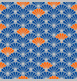 Japanese fan seamless pattern in blue and vector image
