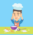 little caucasian chef making mess during cooking vector image