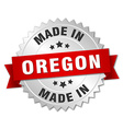 made in Oregon silver badge with red ribbon vector image vector image