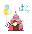 Monkey Congratulating Five Years Old with Happy vector image vector image