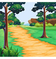 Nature scene with tree along the trail vector image vector image