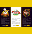 pizzeria and chef with plate vector image vector image