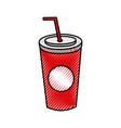 plastic soda cup with straw disposable takeaway vector image