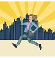 Pop Art Running Business Woman with Briefcase vector image vector image