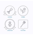 Scissors flower and pitchfork icons vector image vector image