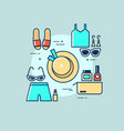set of clothes for travel flat vector image