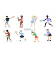 set tennis players isolated on a white vector image